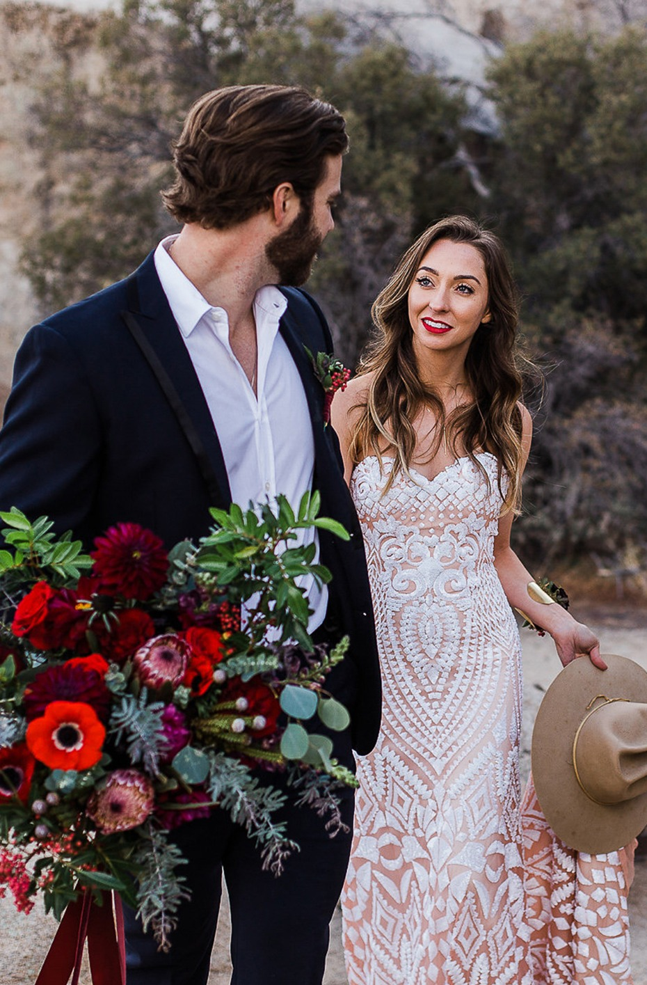 bride and groom boho style in the desert