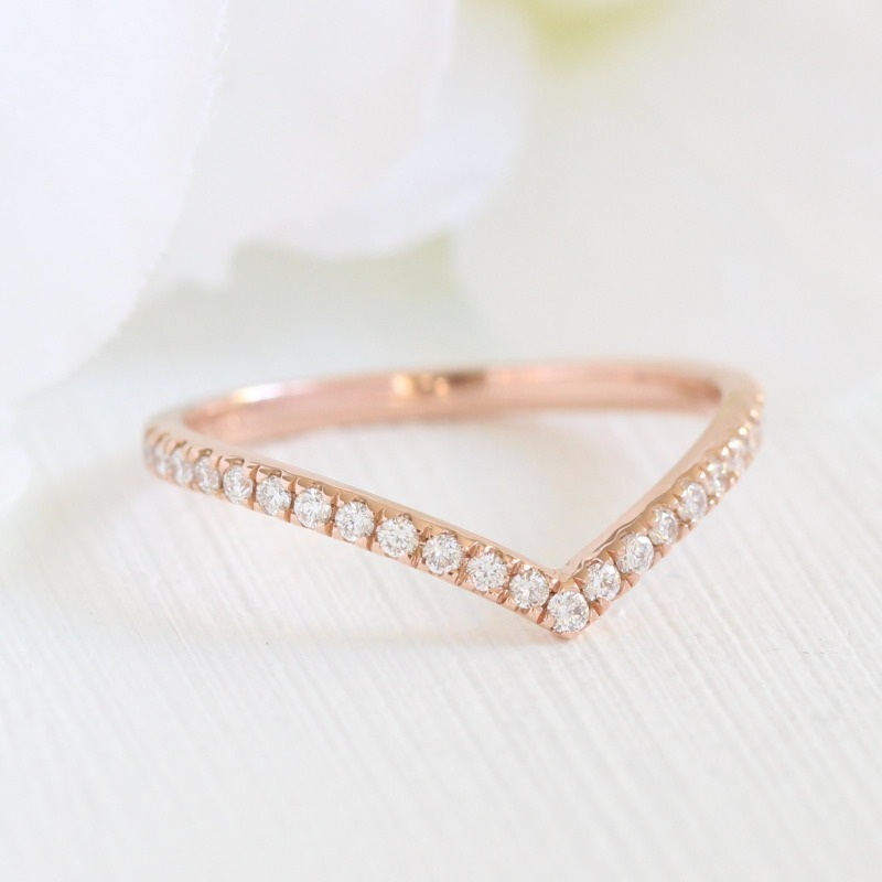 Shop unique curved wedding bands like this chevron diamond wedding band by La More Design ~