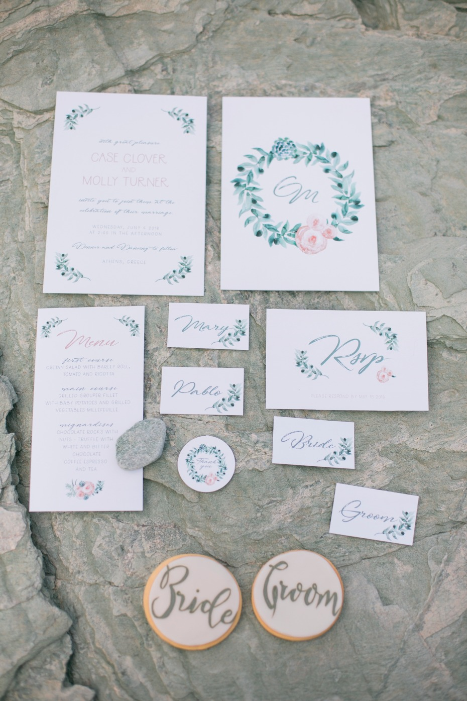 Hand-painted invitation suite