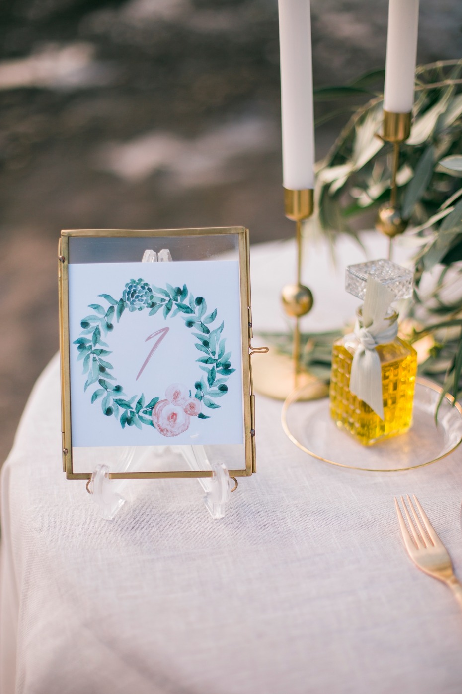 Hand-painted table number and olive oil favor
