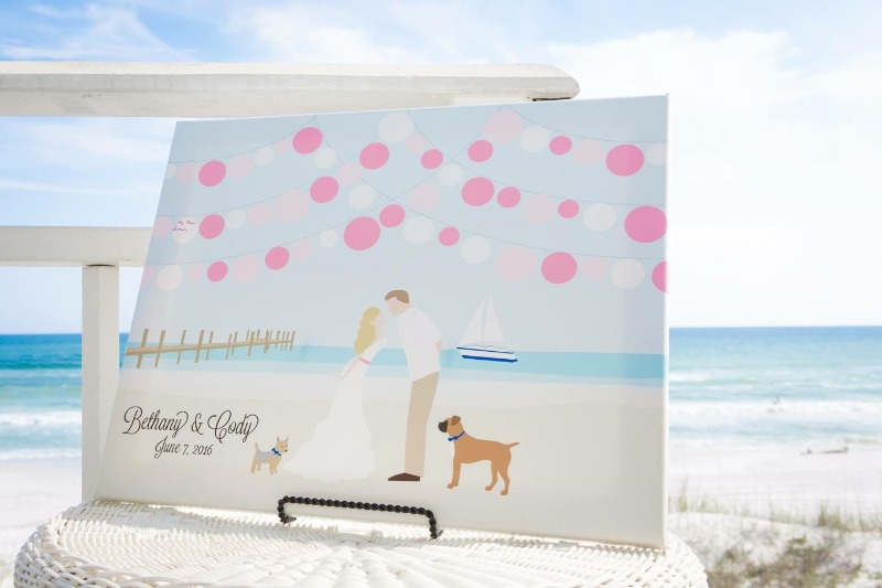 Are you getting married in the sand with a beautiful ocean backdrop? Miss Design Berry has the PERFECT guest book alternative for you