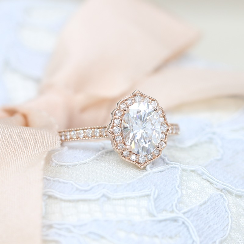Shop La More Design's Vintage Floral Milgrain collection for more beautiful and unique engagement rings like this ~