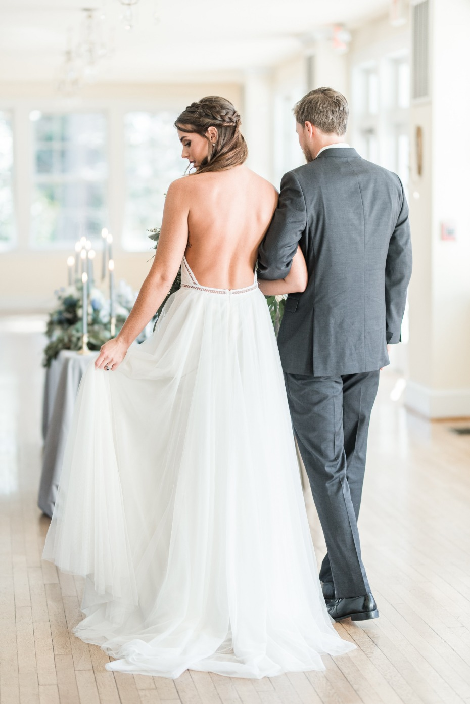 Low back boho wedding dress