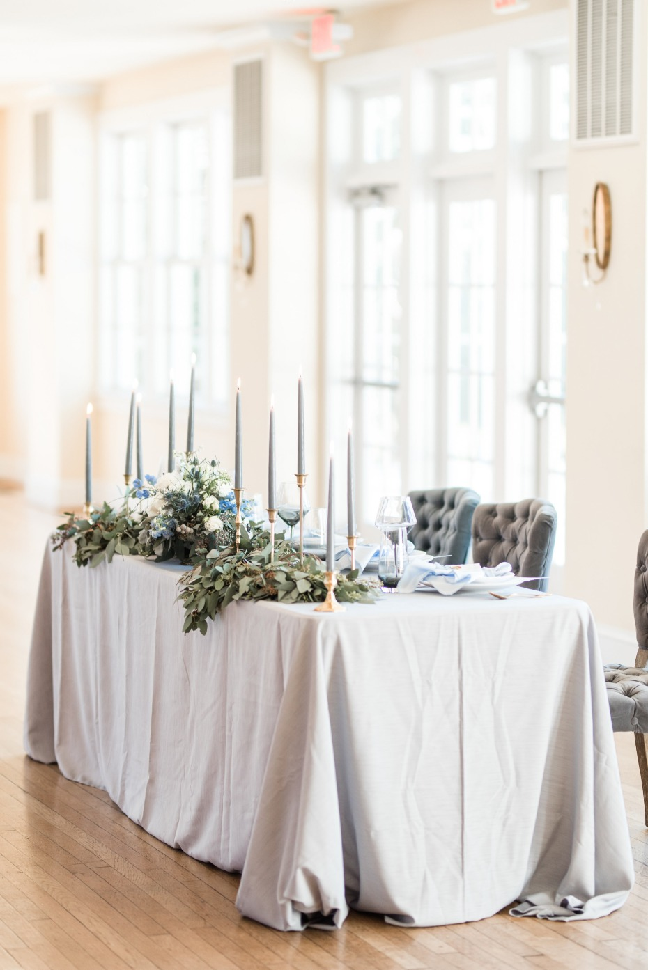 Muted blue sweetheart table