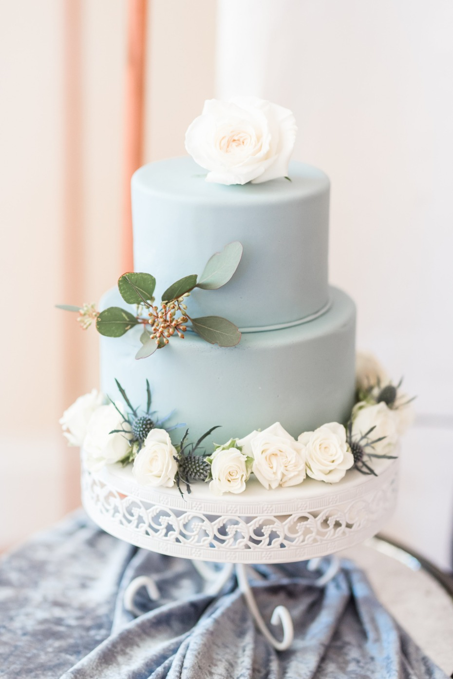 Something blue wedding cake with white roses