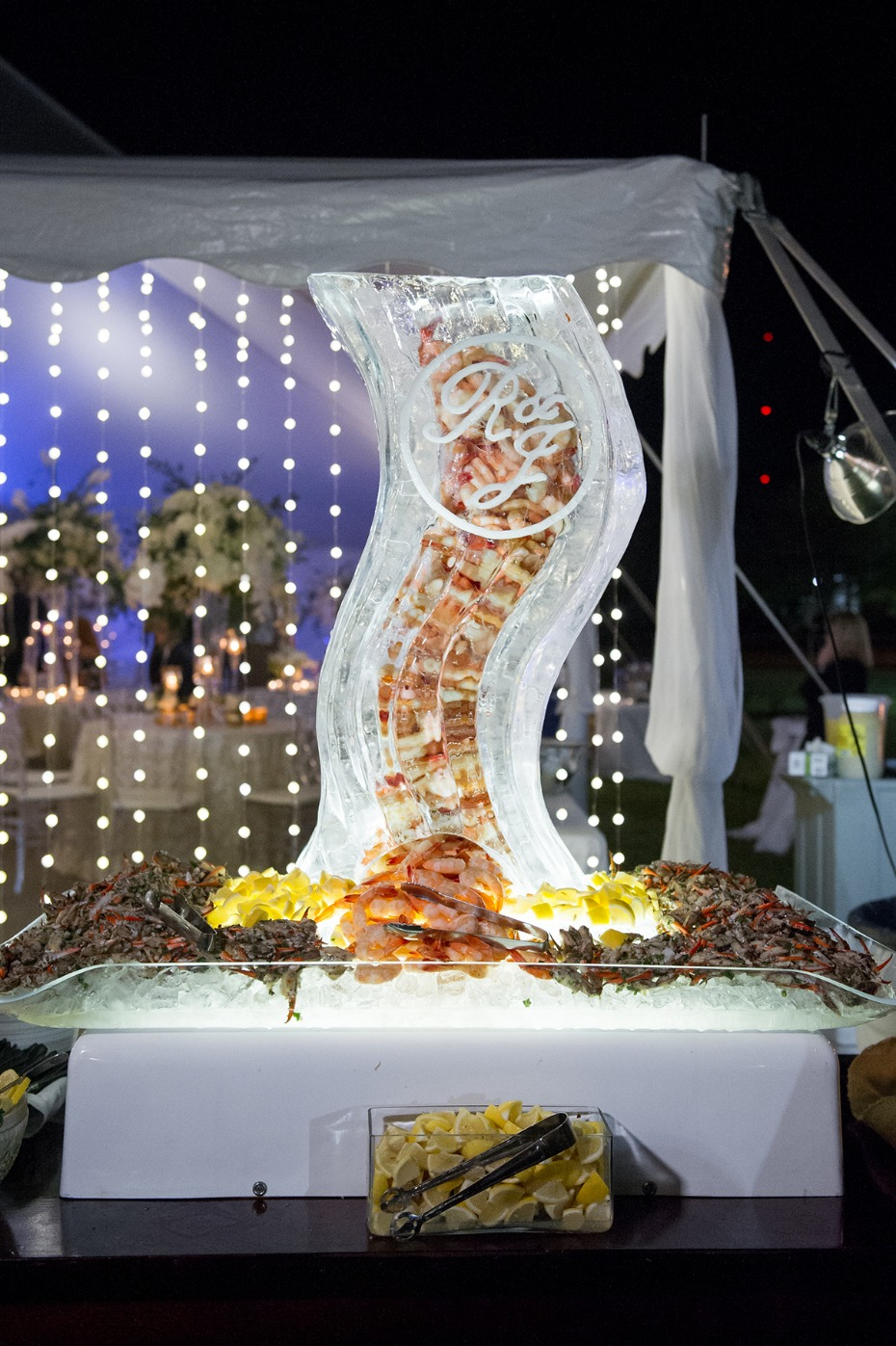 ice sculpture filled with shrimp