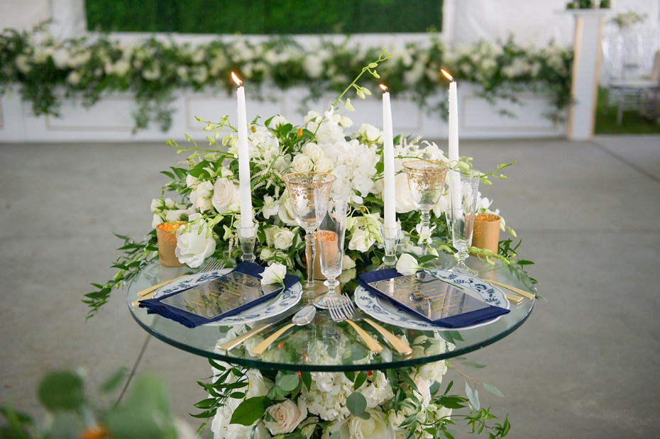 floral cascading sweetheart table