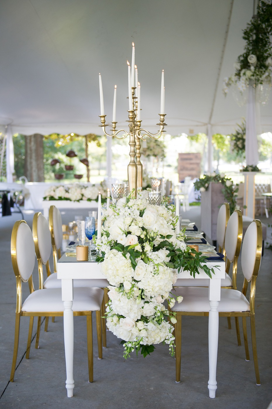 glam white and gold wedding reception
