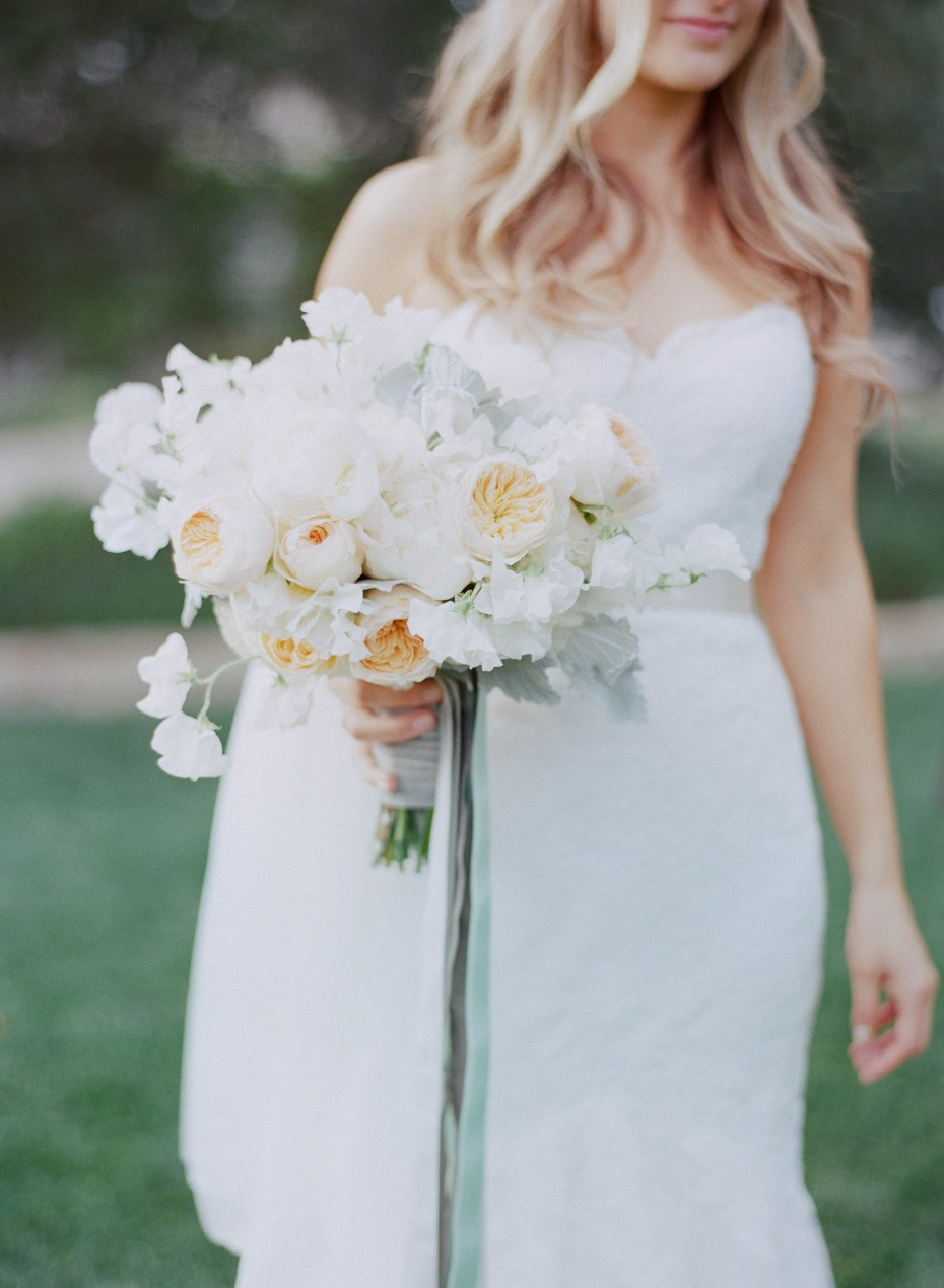 peach, white and mint wedding bouquet