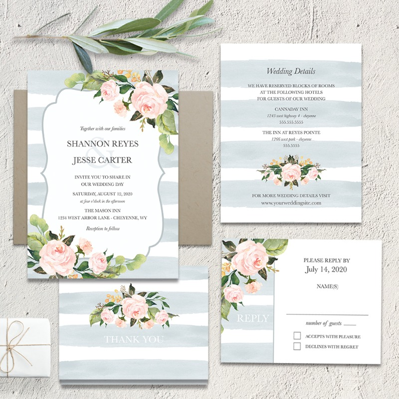 Chic Stripe Wedding Invitations Pale Dusty Blue Floral. This absolutely stunning modern country chic wedding invitation features a