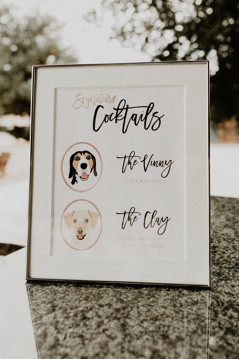 Miss Design Berry can add your pets to any wedding sign, but our cocktail signs are definitely our most popular! Name the drinks after