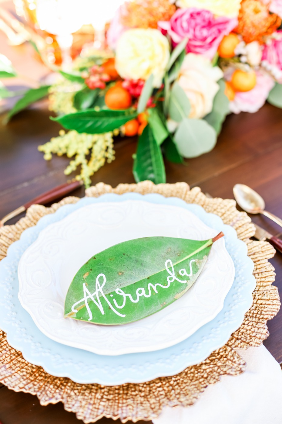 Leaf calligraphy place card