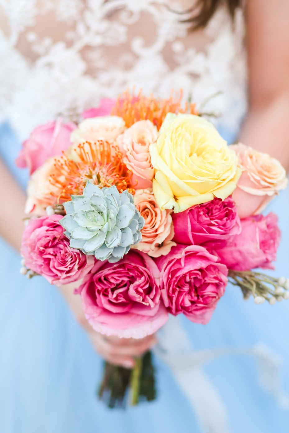 Vibrant bouquet for a beach wedding