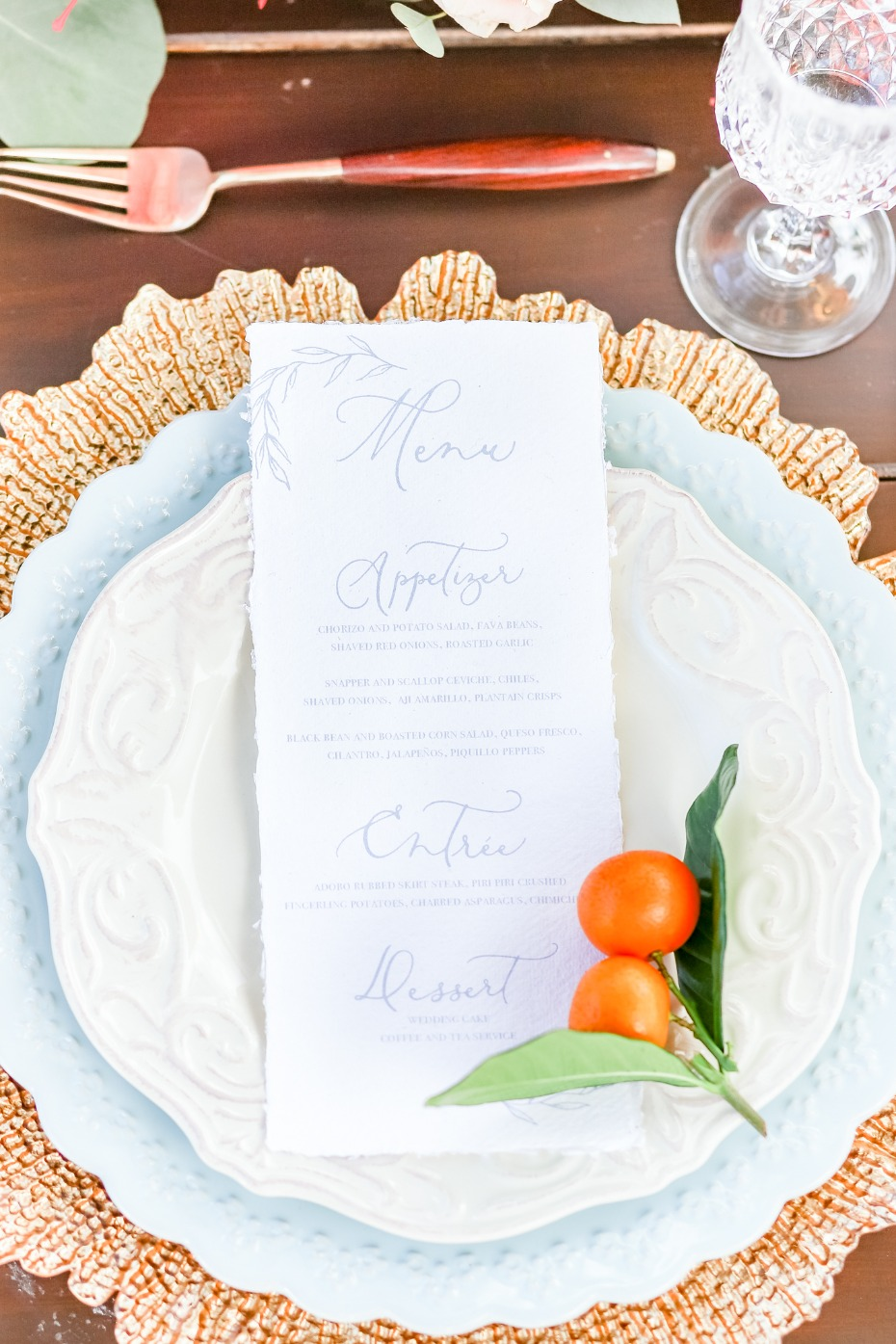 Wedding menu and kumquats