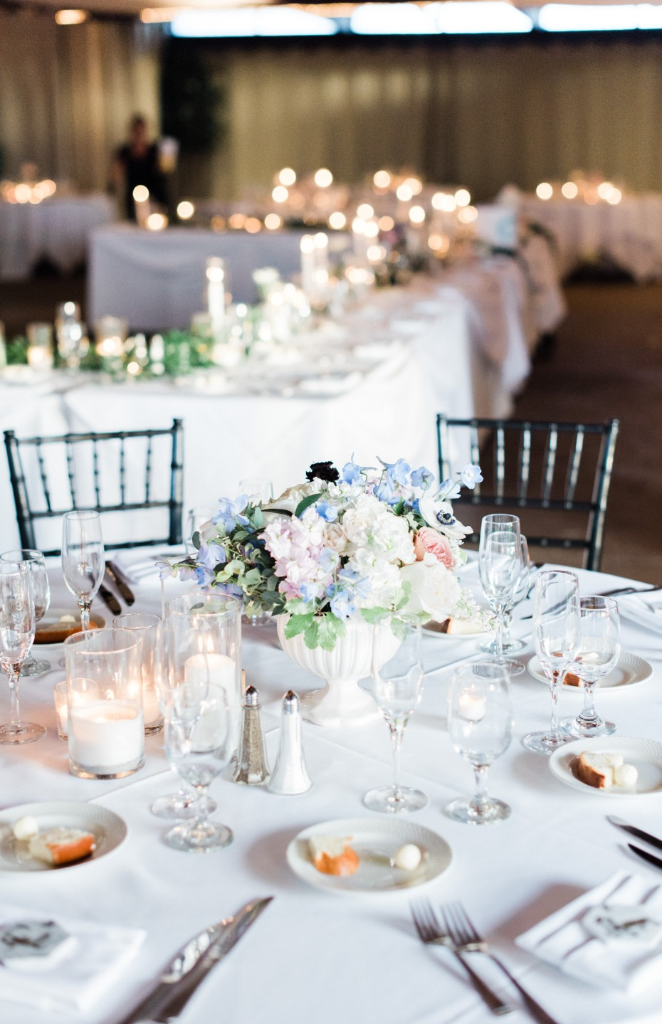 Black and white reception with a splash of color
