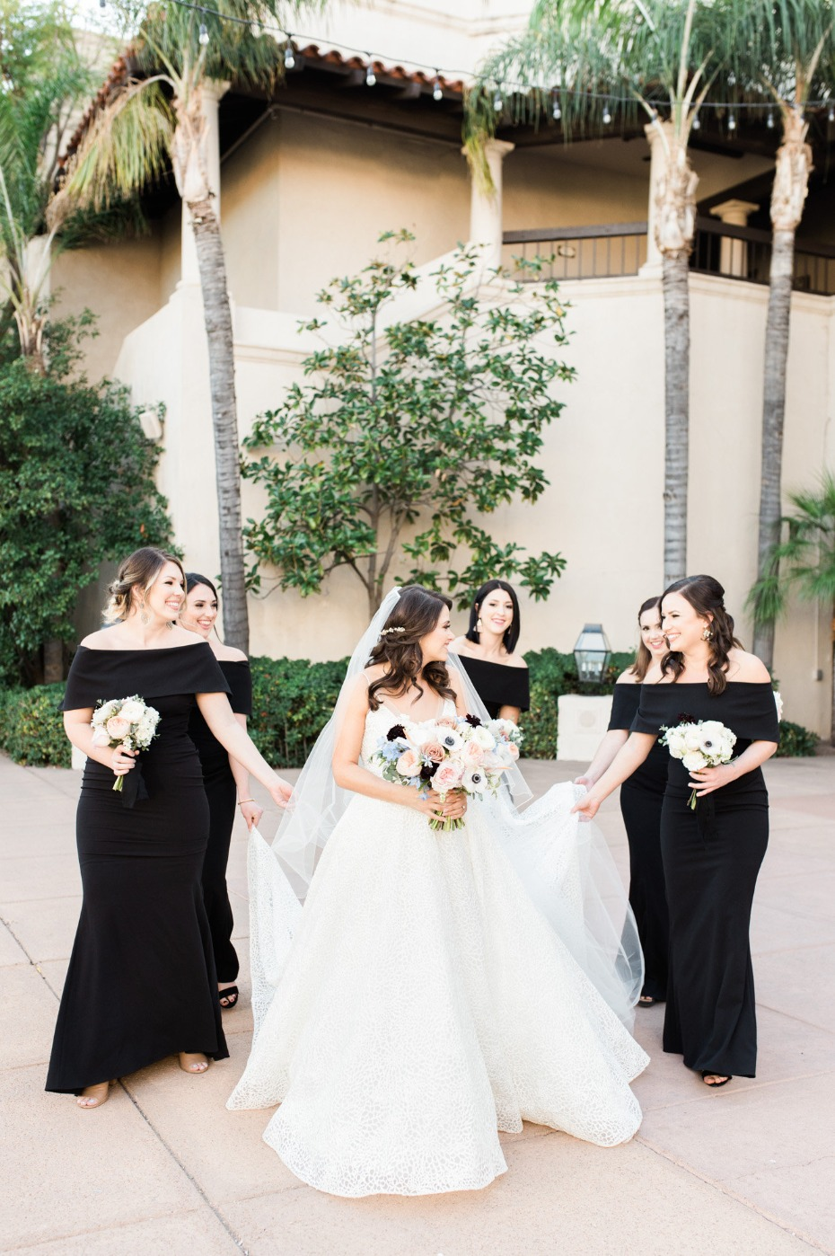 Black off-shoulder bridesmaid dresses from Vince Camuto