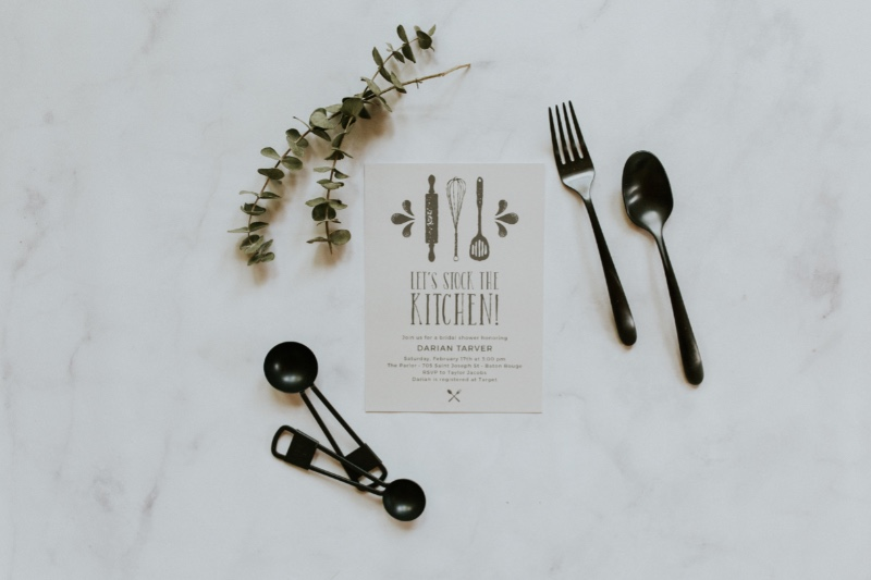 How darling are these Stock the Kitchen Bridal Shower Invitations? Tis' the season, brides!