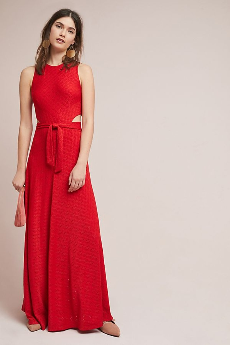 Anthropologie Cutout Maxi Dress Red