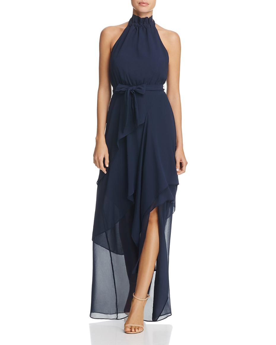 Bloomingdale's Allude Halter Maxi Dress in Navy