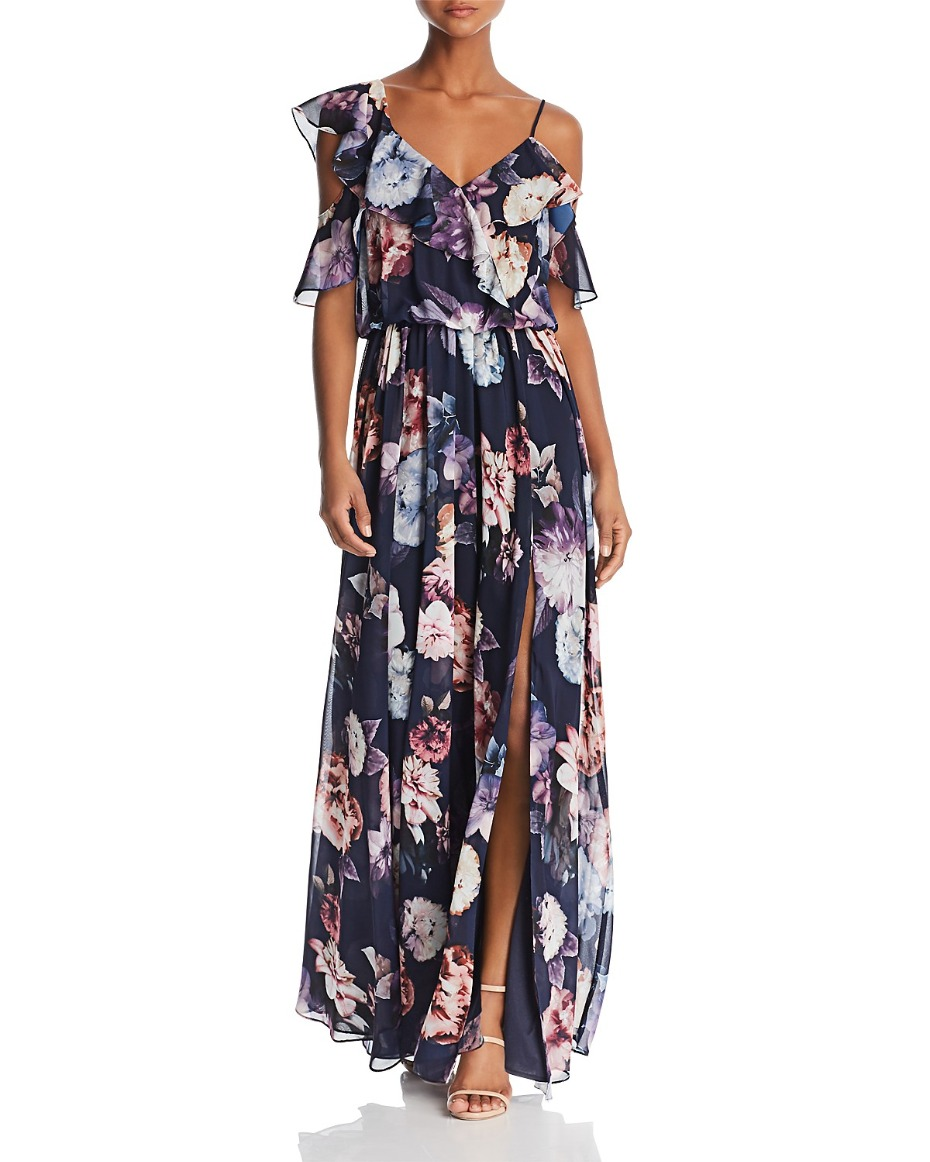 Bloomingdale's Floral-Print Ruffle Gown
