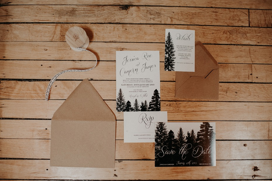 Woodsy invitation suite from Bloom Stationery Co.