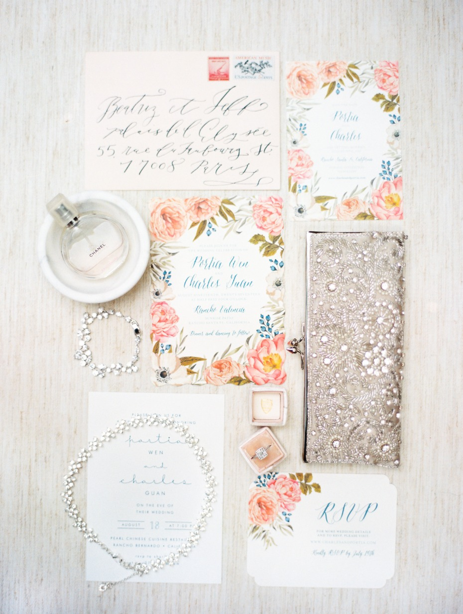 romantic floral accented wedding invitations