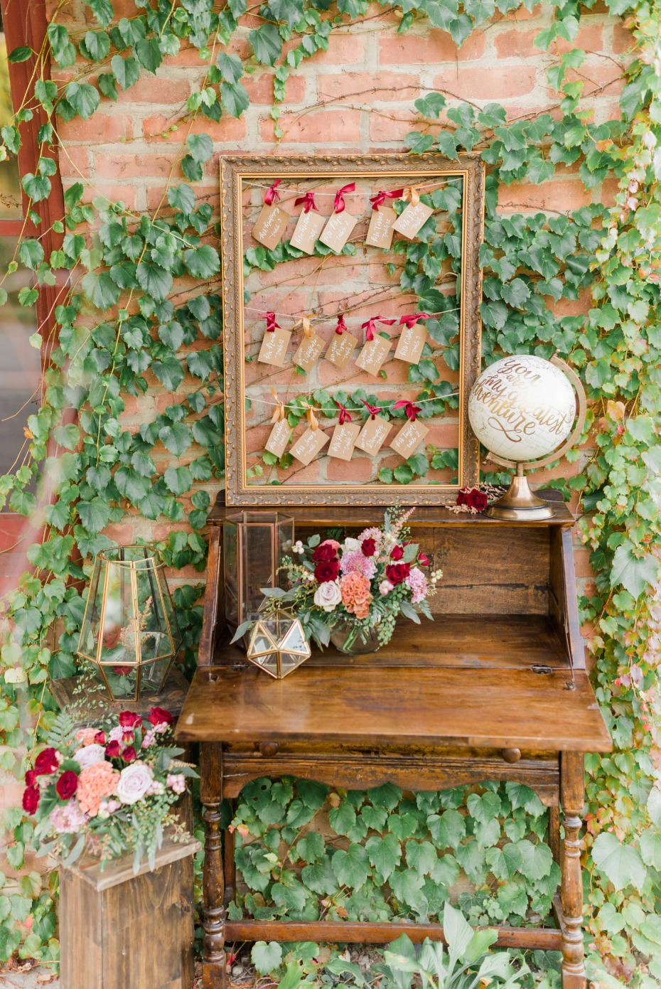 Vintage and Romantic Fall inspired escort card display