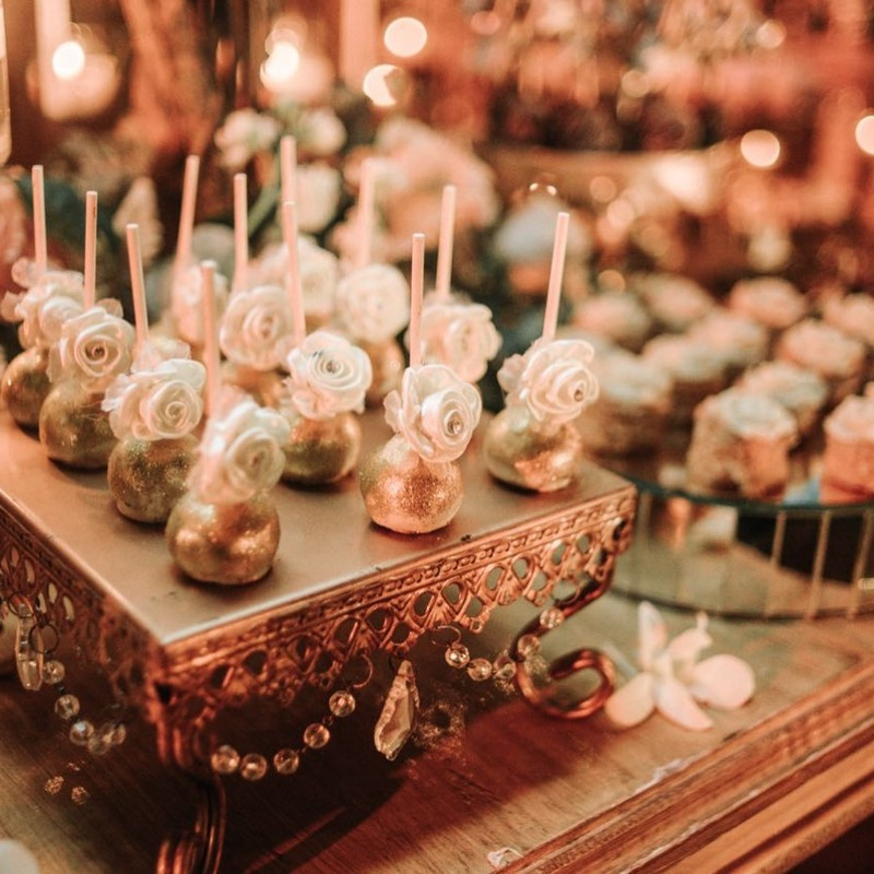 Glamorous Gold Dessert Stands with Chandelier accents created by Opulent Treasures