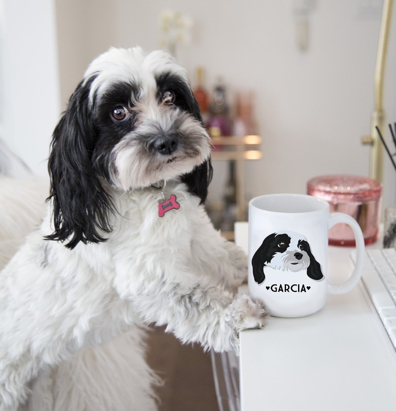 Do you have an adorable pet that needs to be on a mug? We think so!! Miss Design Berry can create custom portraits of your pet and