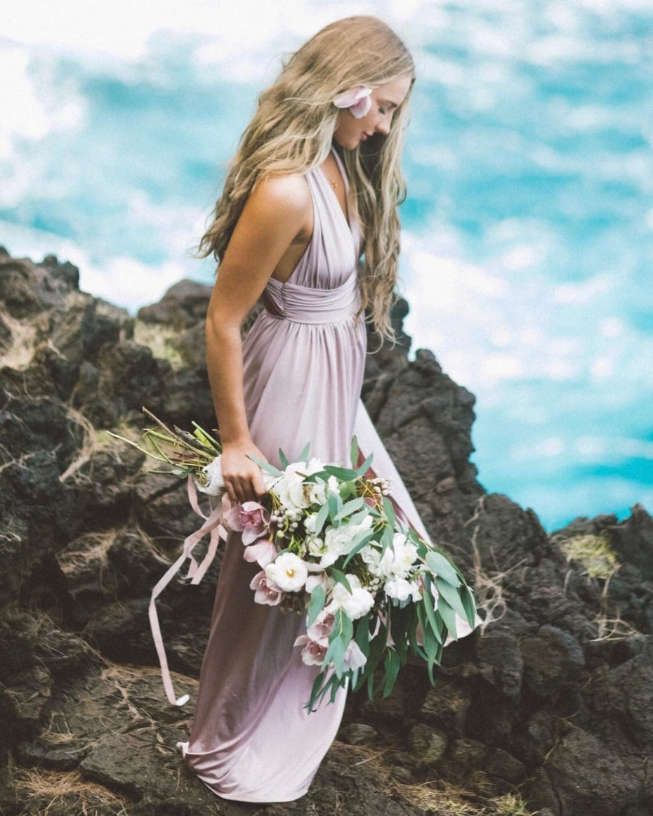 Bridesmaid on a Cliff in Maui Photo by Angie Diaz