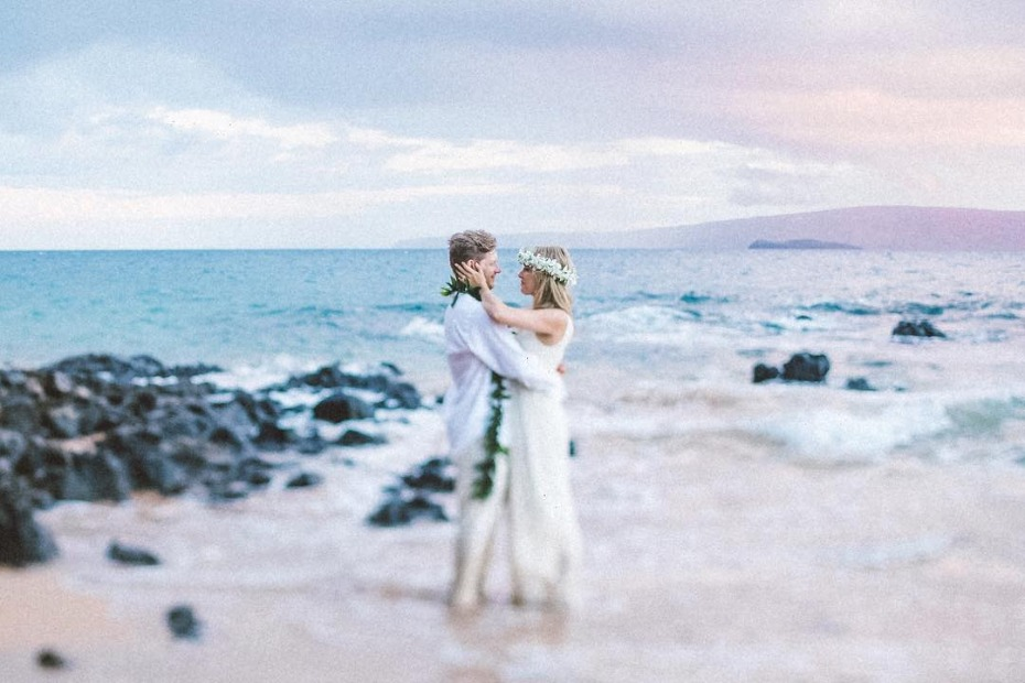Couple Getting Married on a Beach in Maui Photo by Angie Diaz