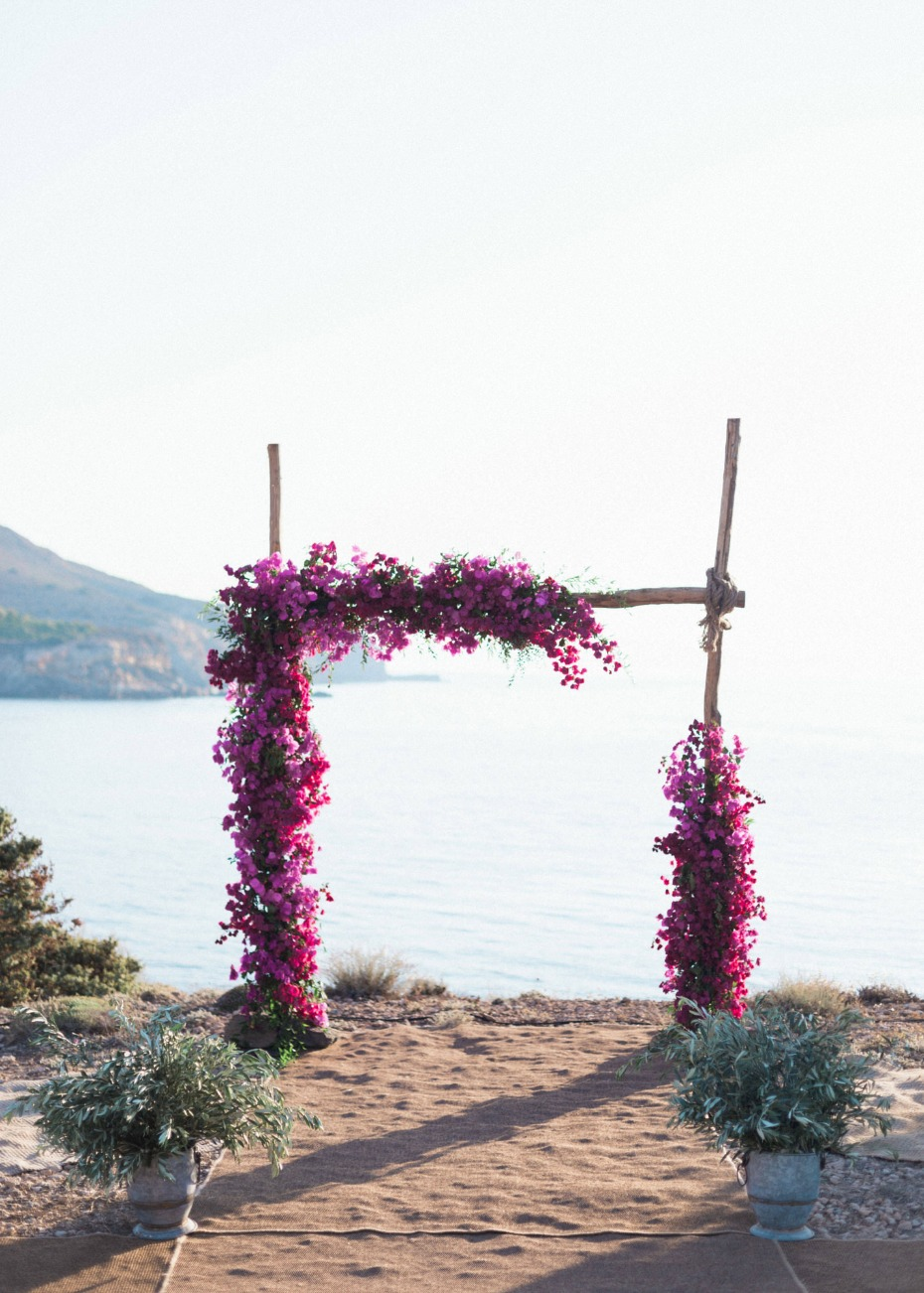 Floral ceremony arch in Greece
