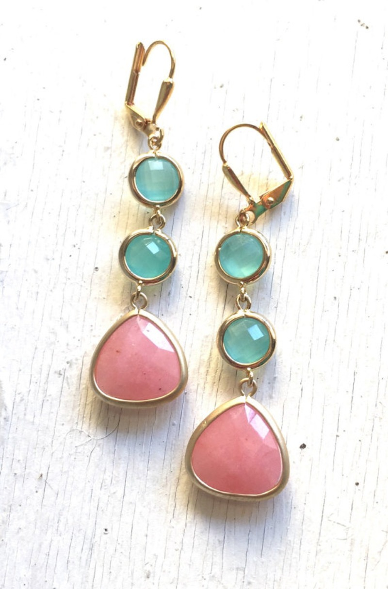 Coral pink, aqua, and gold come together beautifully in these elegant and stunning earrings. Alive and gorgeous, these earrings will