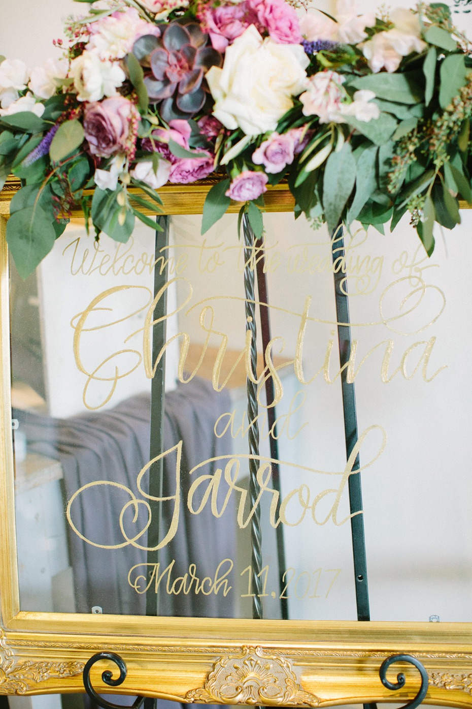 Window welcome sign idea with gold calligraphy