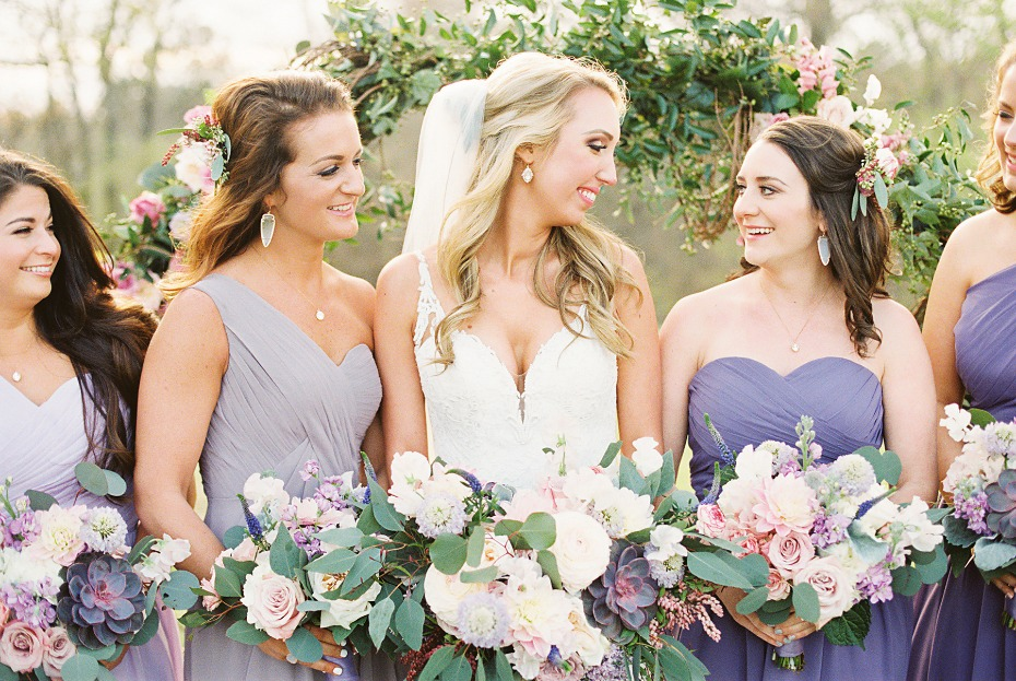 Lavender and gold bridal party