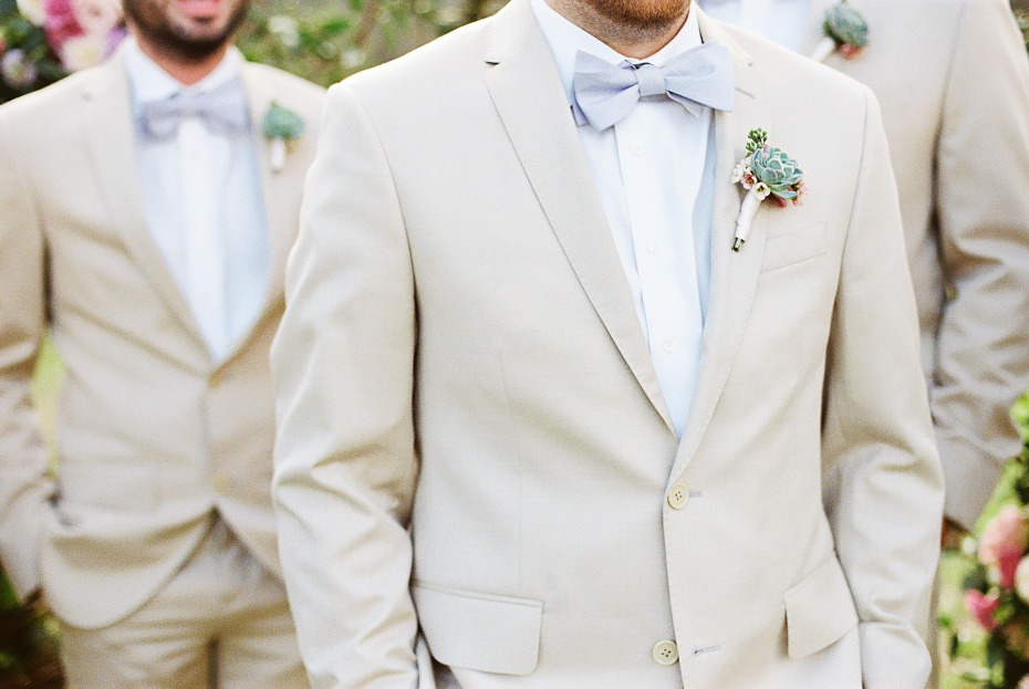 Cream suit and bowtie