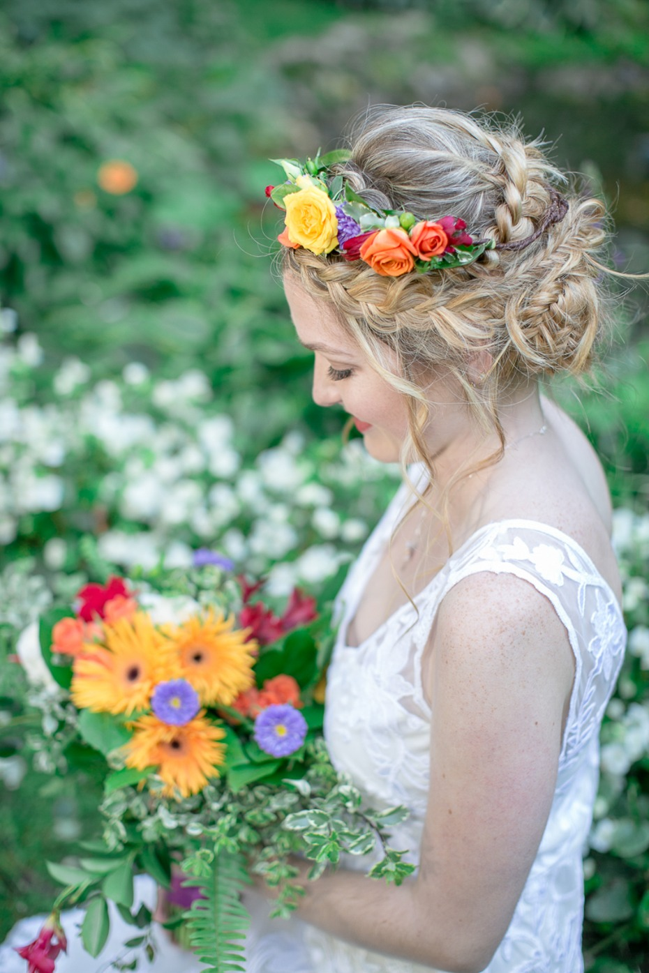 bride and happy summer bridal bouquet and halo