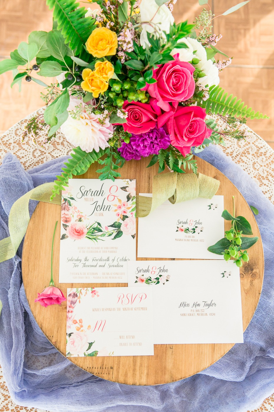 floral wedding stationery suite