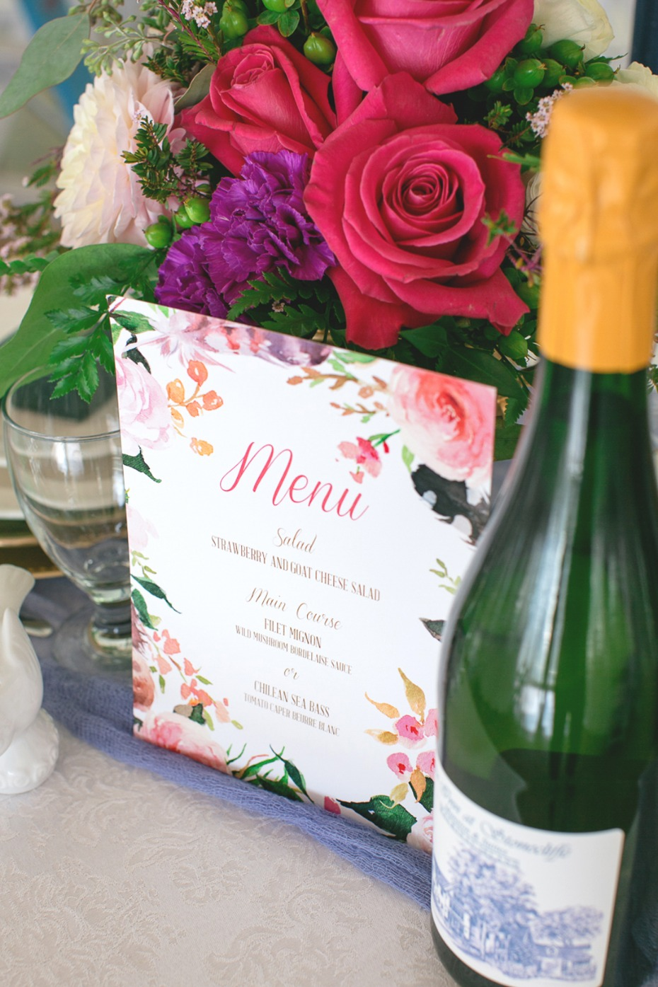 wedding menu with floral boarder
