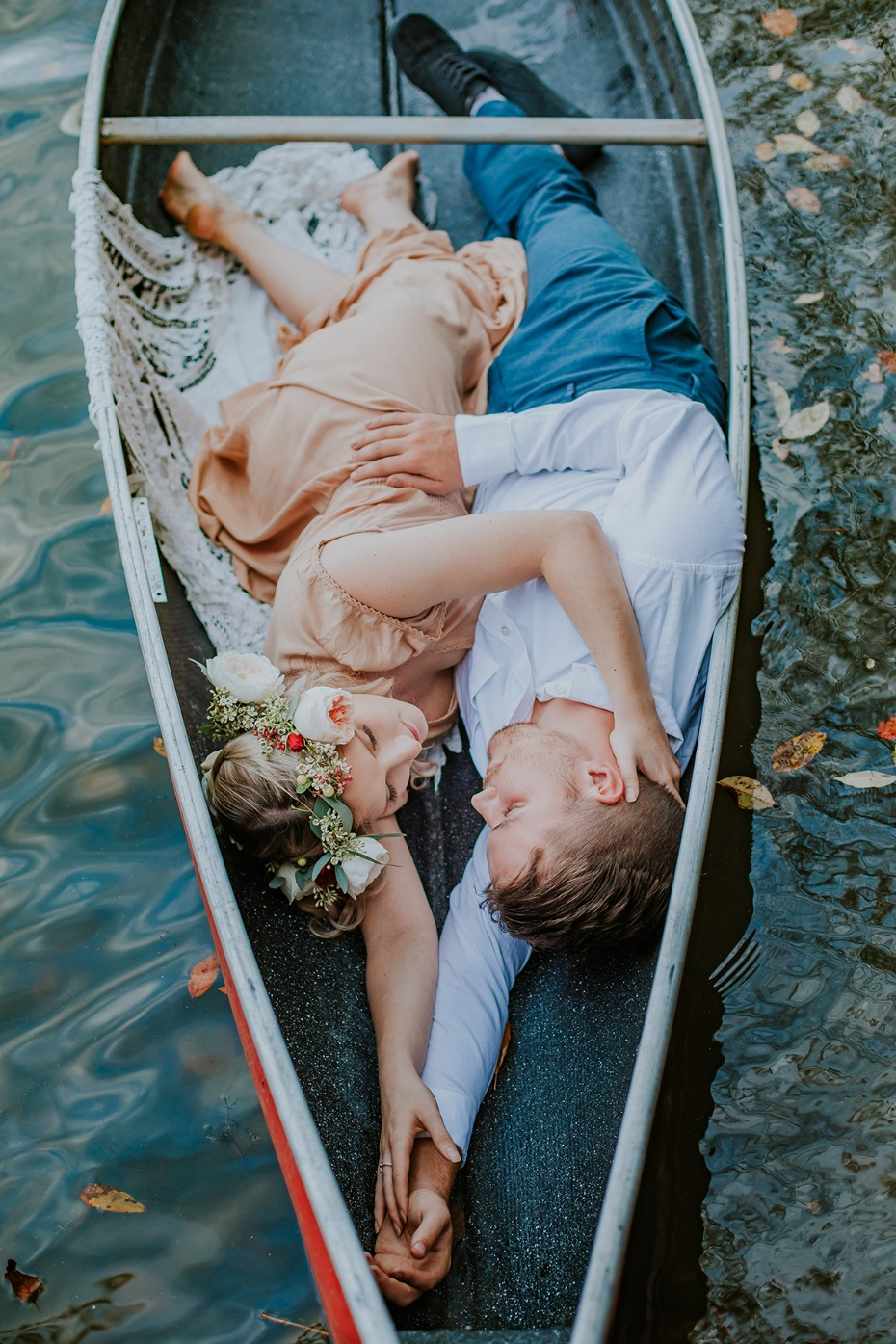 sweet canoe engagement photo idea