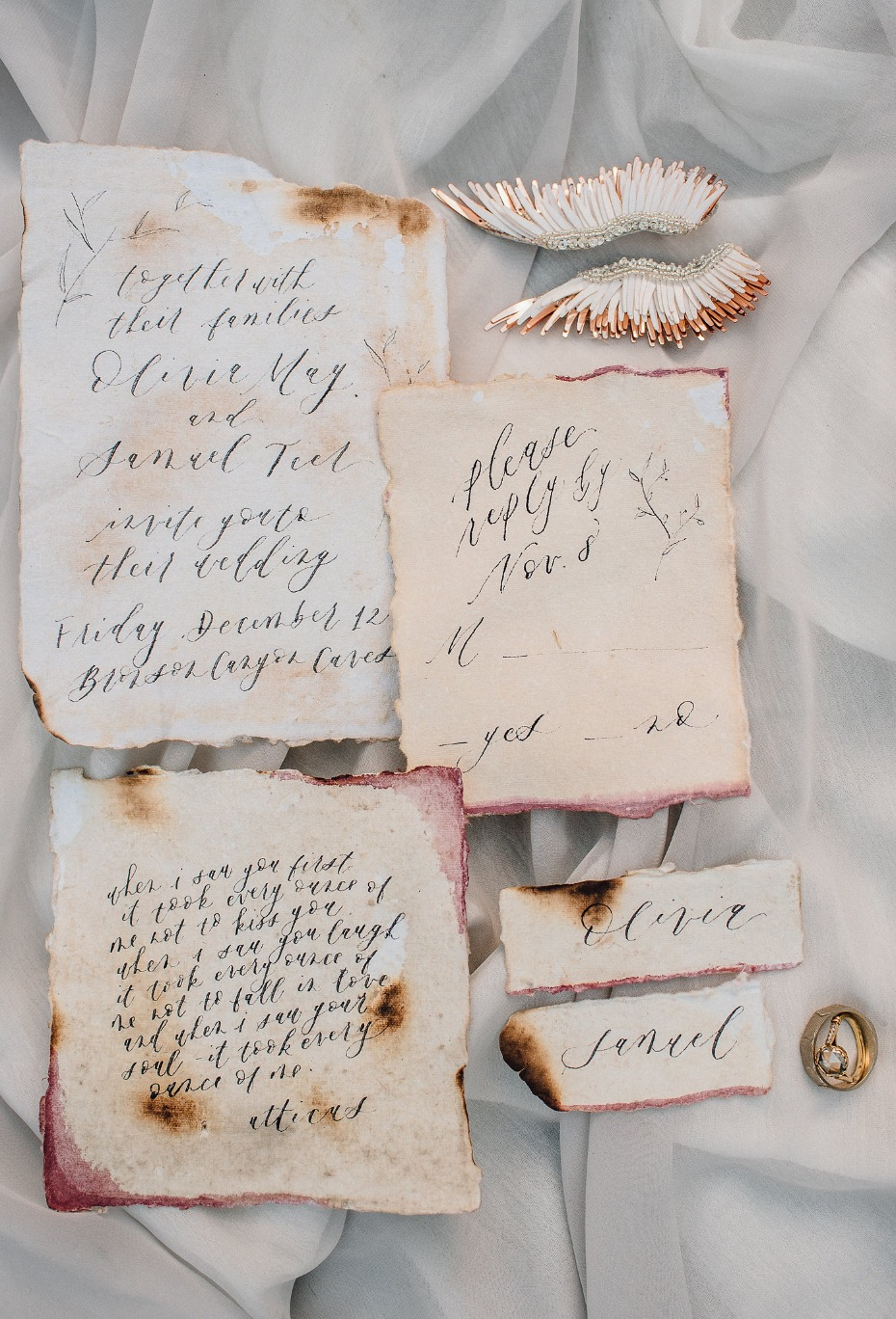 Vintage burnt paper invitation suite