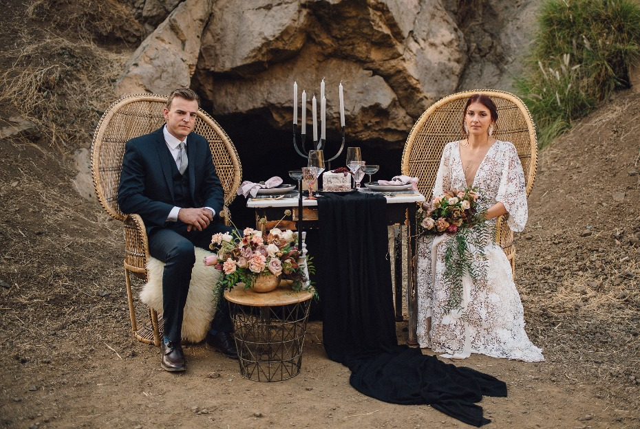 Bohemian sweetheart table idea at The Bronson Canyon Caves