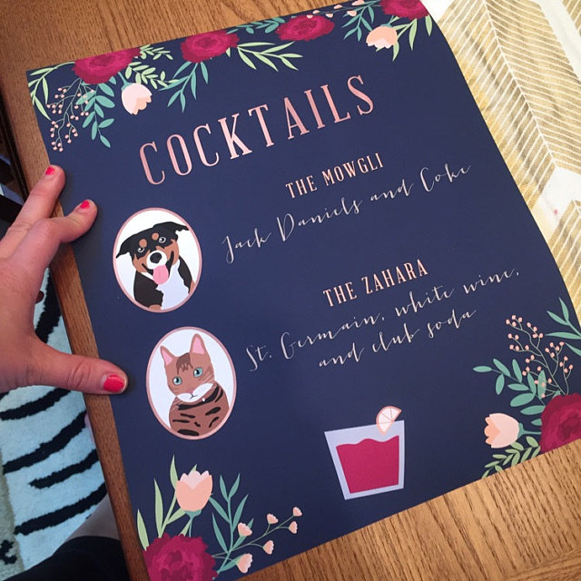 We are absolutely head over heels in love with Signature Cocktail Signs featuring your furry best friends!! Miss Design Berry illustrates