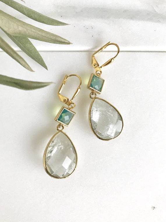 Green Opal and Cracked Clear Crystal Dangle Earrings in Gold.