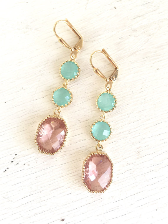 Peach Champagne and Aqua Dangle Earrings. Drop Earrings. Long Earrings. Statement Earrings. Bridesmaids Earrings. Wedding Earrings