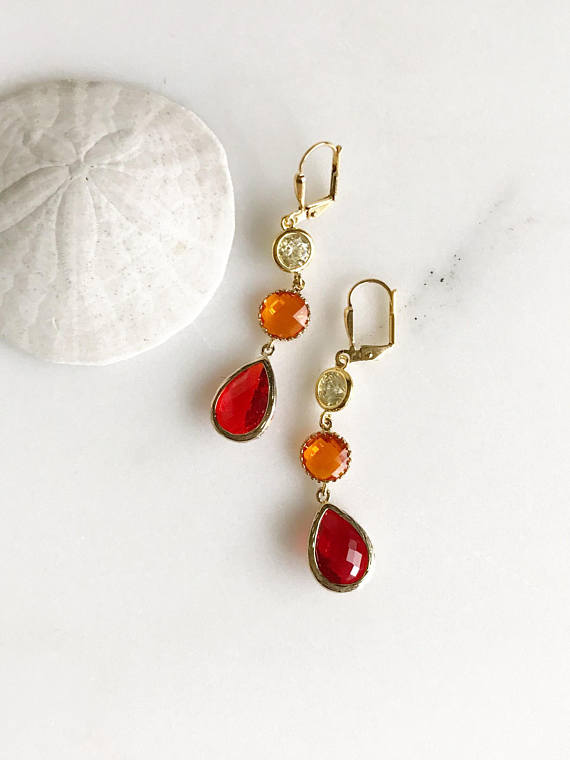 Long Dangle Earrings in Red Orange and Yellow. Orange Dangle Earrings. Colorful Long Earrings. Statement Earrings. Gift for Her.