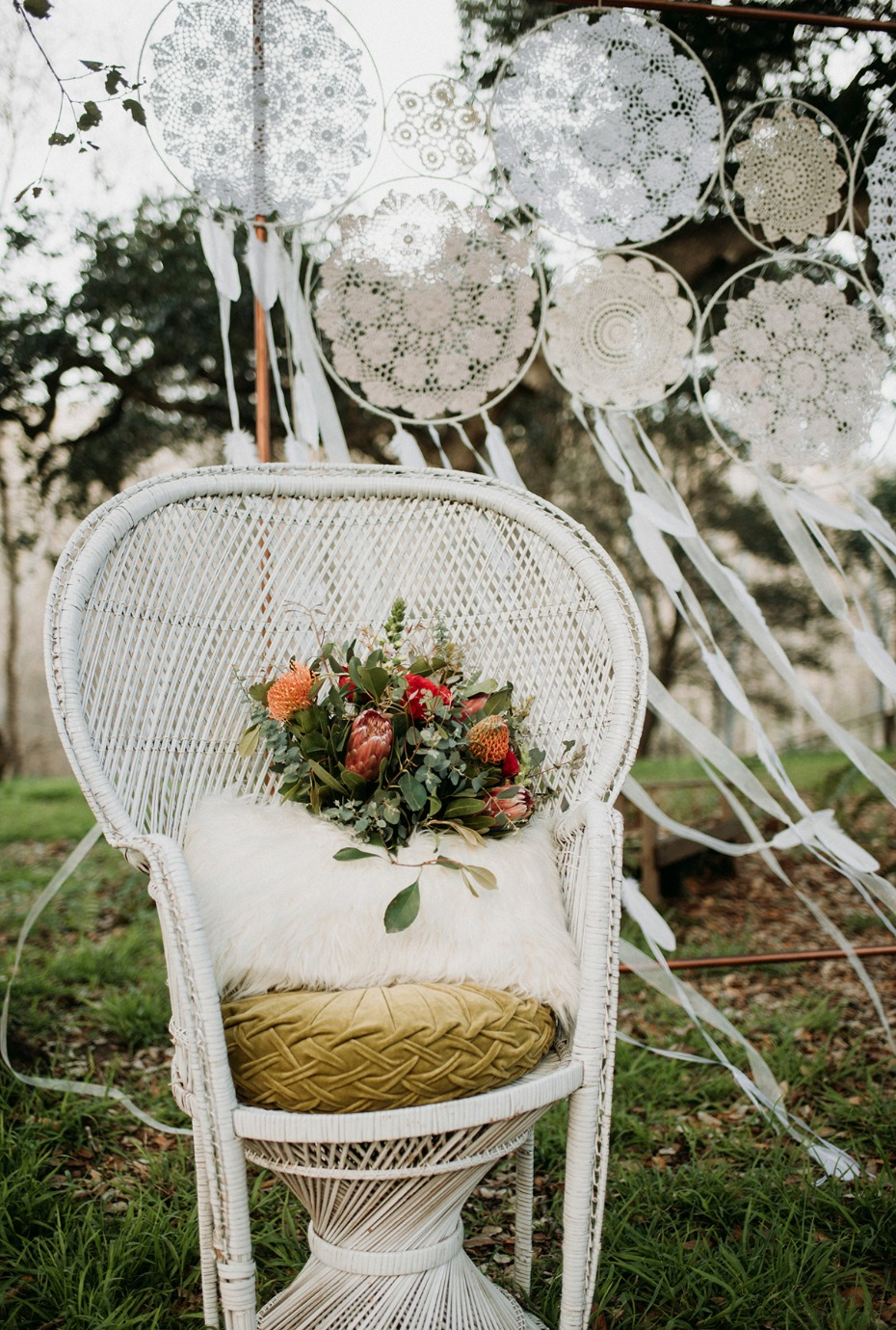 white wicker wedding chair