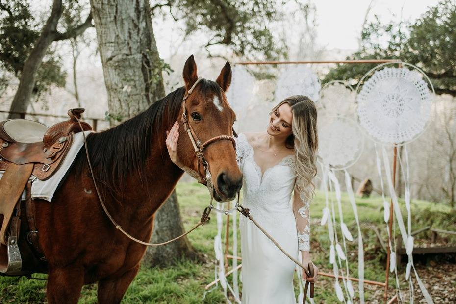 a boho chic wedding complete with wedding horse