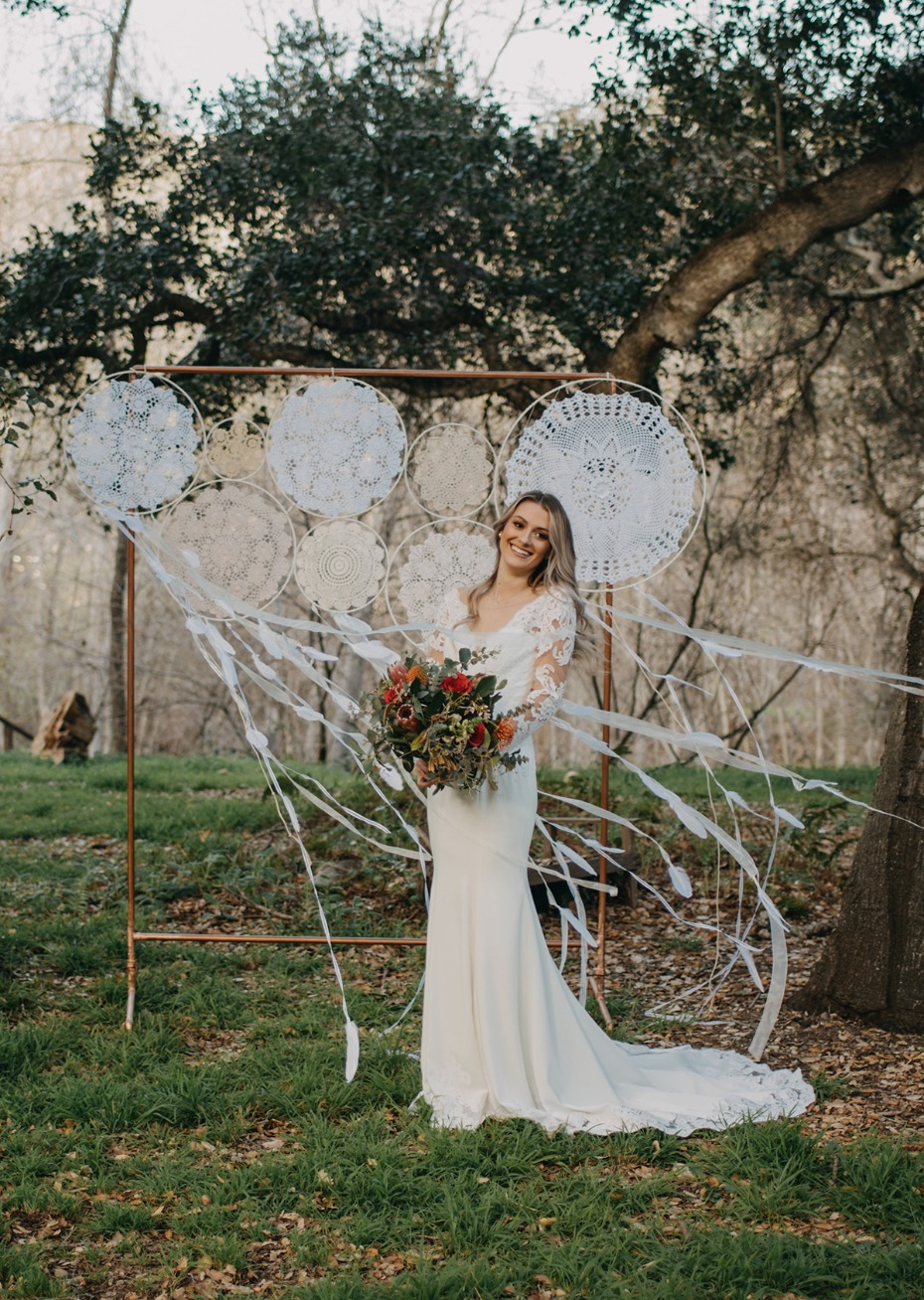 copper pipe and doily dreamcatcher backdrop