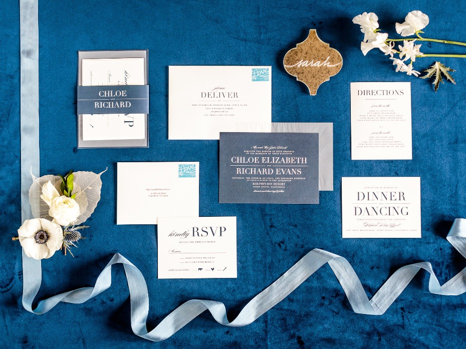 Modern blue invitation suite